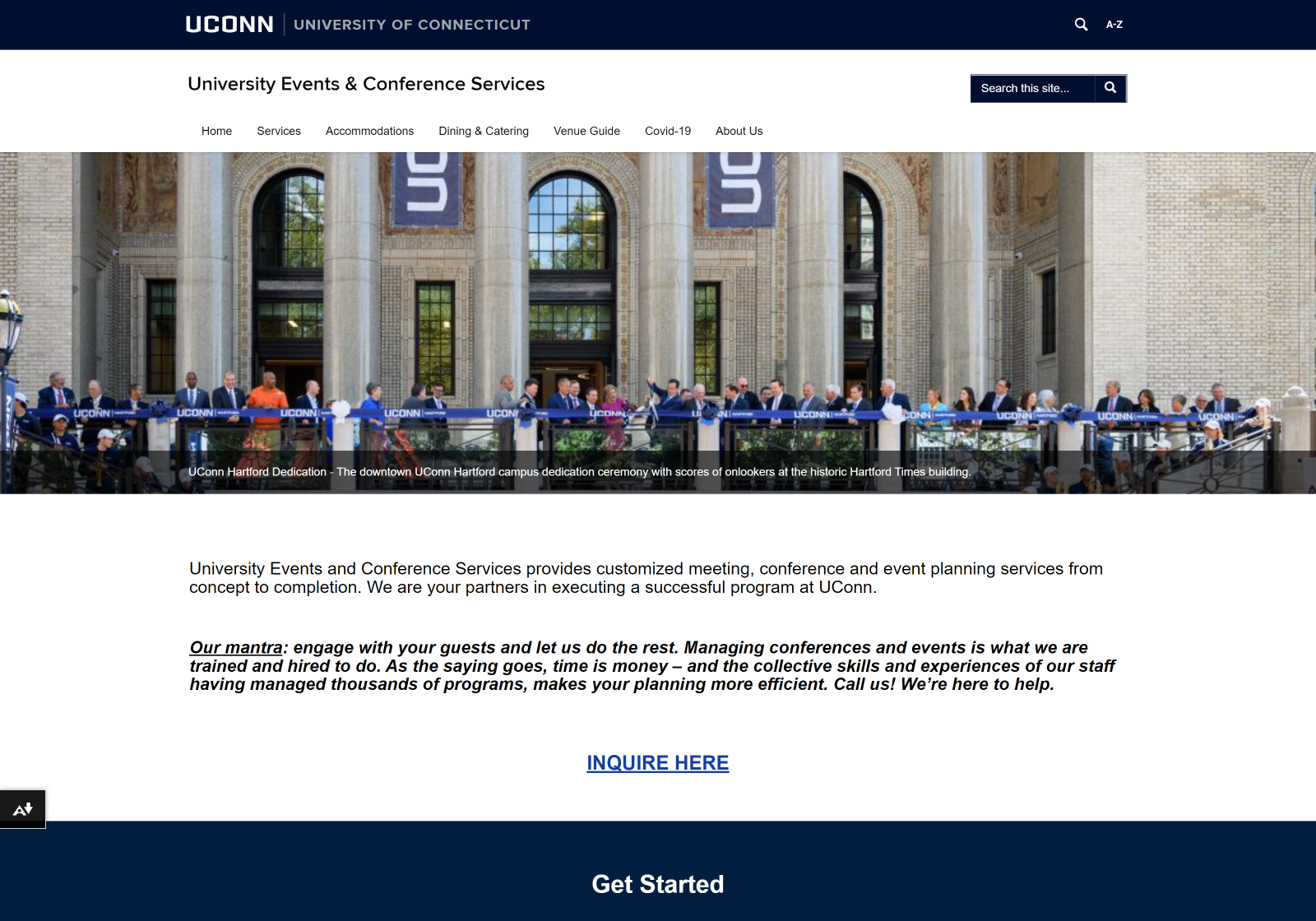Desktop view of the UConn Events and Conference Services website