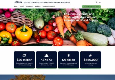 Desktop view of the UConn CAHNR website