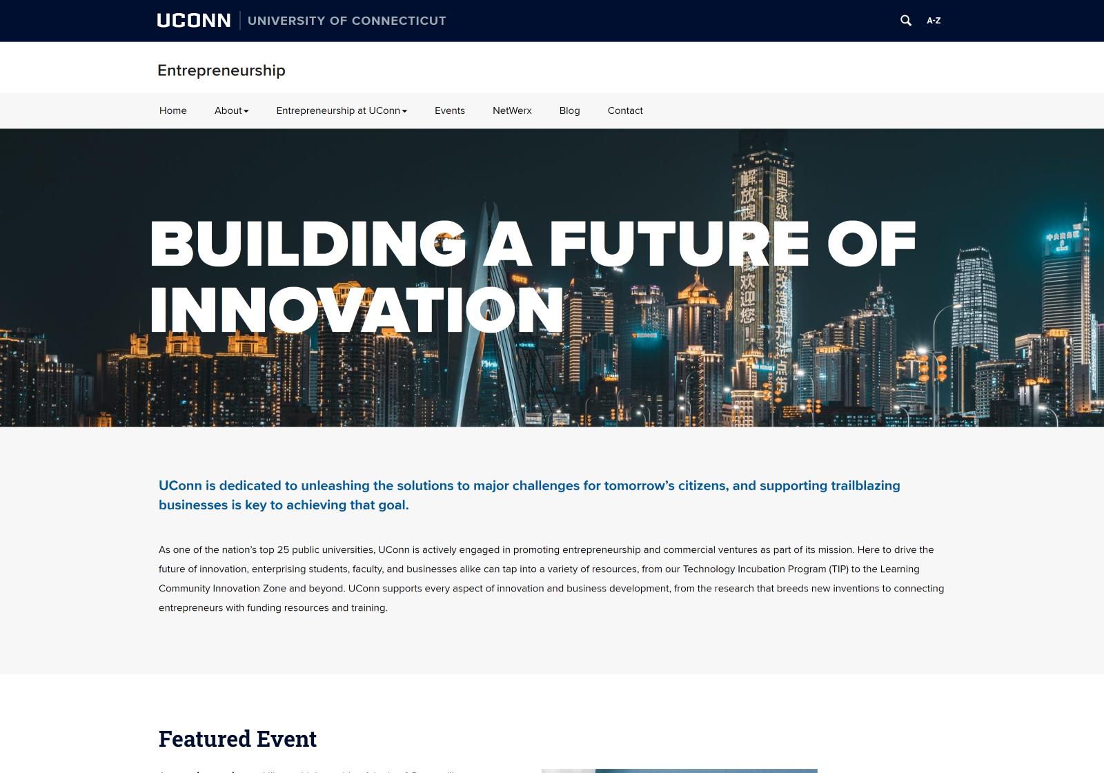 Desktop view of the UConn Entrepreneurship website