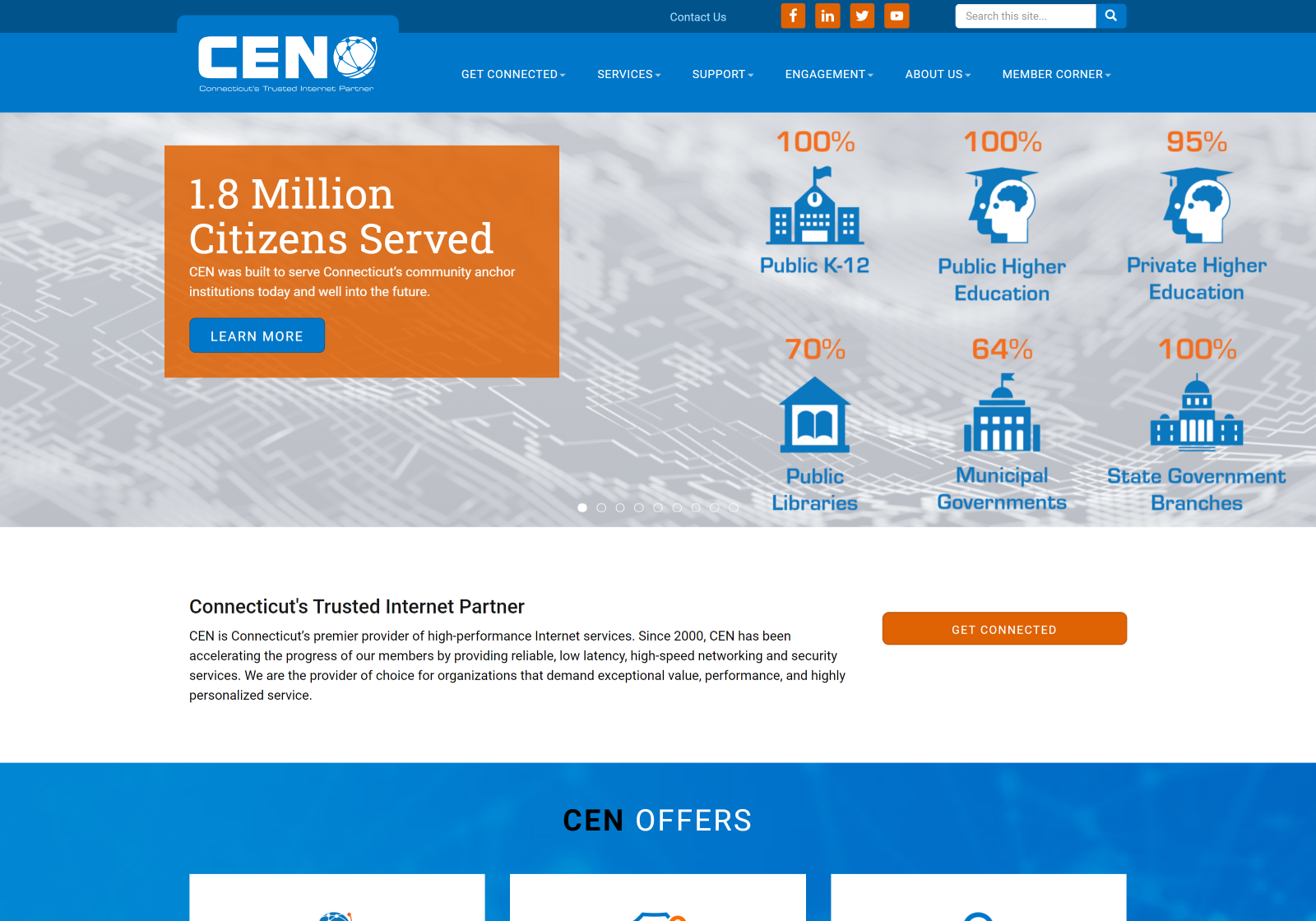 Desktop view of the CT Education Network website