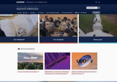 Desktop view of the Department of Mathematics website