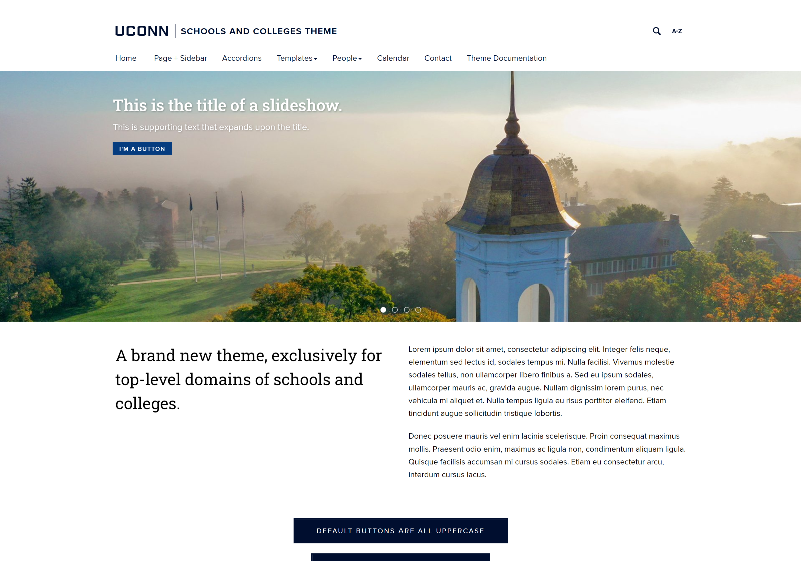 Desktop view of the UConn Schools and Colleges Template website