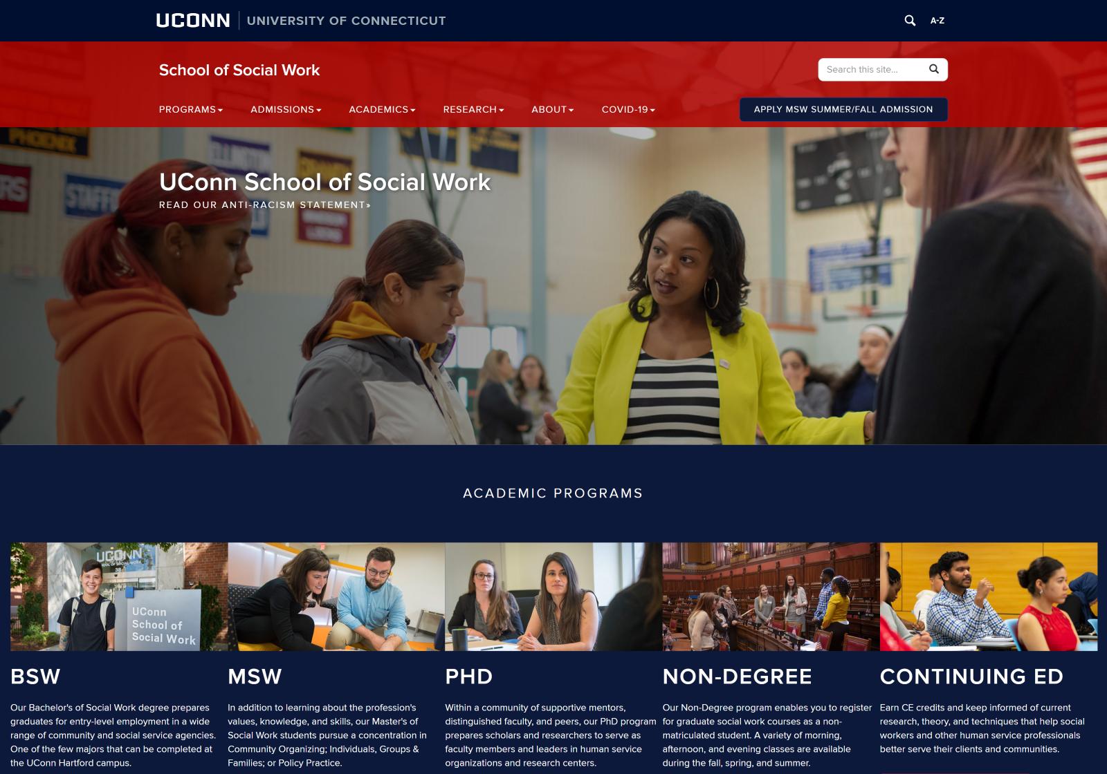 Desktop view of the UConn School of Social Work website