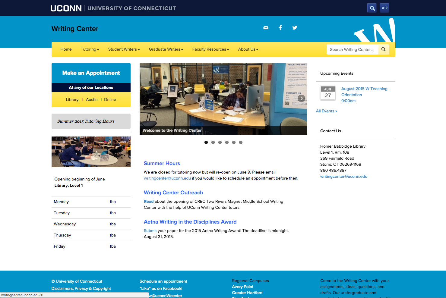 uconn writing center Find tools and resources for current uconn students such as huskyct, library information, events, academic resources, campus maps and information, and more.