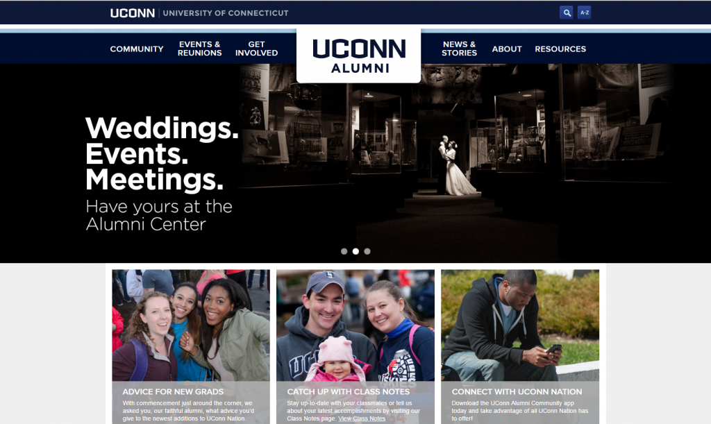 UConn Alumni Homepage Screenshot